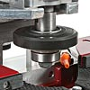 Convenient access to arbor shaft for shaping tool changes.